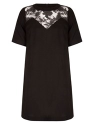 Yumi Shift Dress With Floral Detail Black