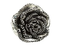 King Baby Studio Rose Ring With Pave Black Cz Silver Black Ring Gray