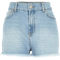 River Island Womens Light Wash High Rise Darcy Denim Shorts