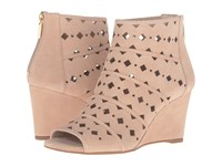 Michael Michael Kors Uma Wedge Bisque Sport Suede Geo Cut Out Women's Wedge Shoes Beige