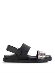 Max Mara King Leather And Snakeskin Sandals