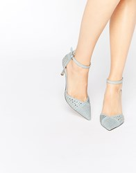 Asos Super Sonic Studded Pointed Heels Blue