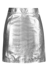 Topshop Petite A Line Leather Mini Skirt Silver