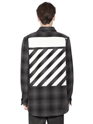 Off White Stripes Printed Wool Flannel Shirt