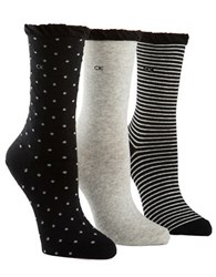 Calvin Klein Three Pack Dot And Striped Crew Socks Assorted Black