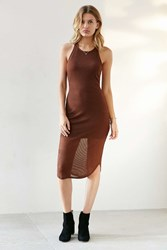 Sparkle And Fade Ribbed Racerback Tank Dress Brown