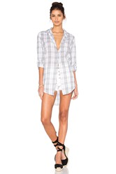 Sundry Gauze Plaid Oversized Shirt White
