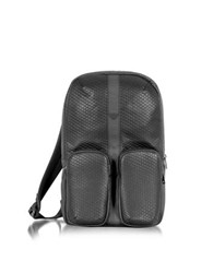 Armani Jeans Black Carbon Fiber Printed Eco Leather Backpack