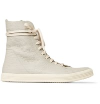 Rick Owens Mastodon Cracked Leather High Top Sneakers Light Gray