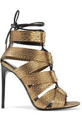 Tom Ford Lace Up Metallic Python Sandals Gold