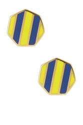 Ariella Collection Octagon Striped Stud Earrings Blue