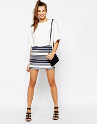 Daisy Street Scallop Hem Skirt In Stripe Navy