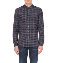 Diesel S Voil Slim Fit Check Print Shirt Navy