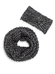Saks Fifth Avenue Glitter Woven Scarf And Headband Set Black