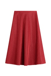Golden Goose Metallic Midi Skirt Red