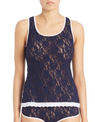 Hanky Panky Colorplay Rollergirl Lace Racerback Tank Top Navy White