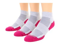 Wrightsock Dl Fuel Lo 3 Pair Light Grey Fuschia Low Cut Socks Shoes White