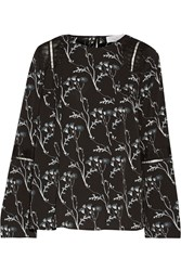 Thakoon Lace Trimmed Floral Print Crepe Top Black