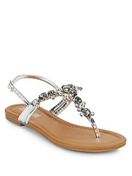 Kenneth Cole Reaction Drag Fire Jeweled Sandals Silver