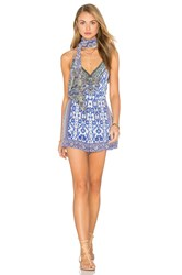 Camilla Flared Belted Playsuit Blue