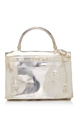 Mantiques Modern Nickel Plated Bronze Hermes Kelly Bag Sculpture By French Artist Christian Maas Silver