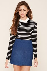 Forever 21 Contrast Collar Striped Shirt