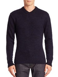 Acne Studios V Neck Long Sleeve Pullover Navy Black