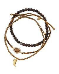 Tai Mixed Tiger's Eye Beaded Bracelets Brown
