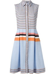 Jil Sander Navy Striped Shirt Dress Blue