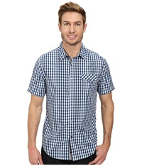Dkny Short Sleeve Gradient Check Shirt Casual Wash Blue Men's Short Sleeve Button Up