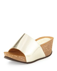 Neiman Marcus Made In Italy Yolanda Metallic Platform Slide Gold