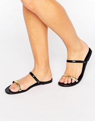 Call It Spring Chuna Strap Slide Flat Sandals Black Synthetic