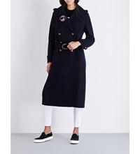 Tommy Hilfiger X Gigi Military Double Breasted Wool Blend Coat Midnight