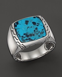 John Hardy Men's Sterling Silver Batu Classic Chain Signet Ring With Turquoise Black Turquoise