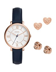 Fossil Jacqueline Watch And Earrings Set Black