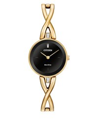 Citizen Eco Drive Silhouette Swarovski Crystal And Goldtone Stainless Steel Bangle Watch