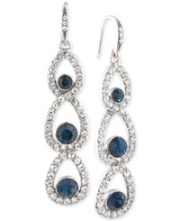 Carolee Silver Tone Glass Bead Pave Linear Drop Earrings