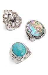 Women's Topshop Filigree And Cabochon Rings Set Of 3