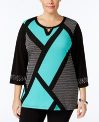 Jm Collection Plus Size Keyhole Colorblocked Tunic Only At Macy's Modest Block Green