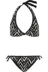 Missoni Flame Crochet Knit Triangle Bikini Black