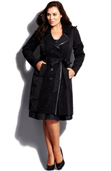 City Chic 'Lace Vixen' Belted Double Breasted Trench Coat Plus Size Black