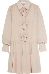 See By Chloe Bow Embellished Georgette Mini Dress Taupe