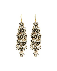 Chamak By Priya Kakkar Diamond Shape Tiered Earrings Black