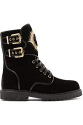 Balmain Leather Trimmed Embellished Suede Ankle Boots Black