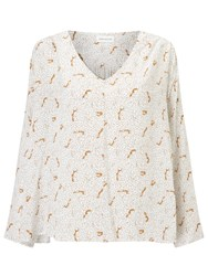 Harris Wilson Vicenta Fox Print Blouse Ecru