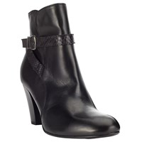 John Lewis Pachelle Cone Heel Ankle Boots Black Leather
