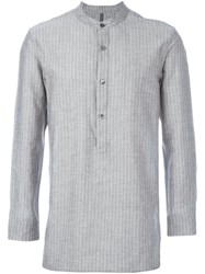 Attachment Striped Shirt Grey