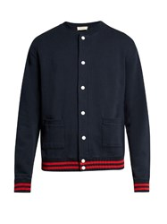 Maison Kitsune Mount Fuji Applique Cotton Bomber Jacket Navy Multi
