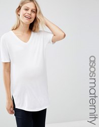 Asos Maternity Slouchy T Shirt In Rib With V Neck White
