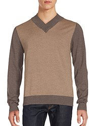 Canali Updated V Neck Wool Sweater Brown